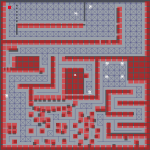 The pathfinding gridgraph, showing possible routes for the enemies, on the final level.